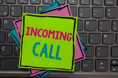 Handwriting text writing Incoming Call. Concept meaning Inbound Received Caller ID Telephone Voicemail Vidcall Papers reminders ke. Yboard Inspiration stock images