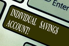 Handwriting text writing Individual Savings Account. Concept meaning Savings account offered in the United Kingdom. Keyboard key Intention to create computer stock photo