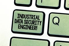 Handwriting text writing Industrial Data Security Engineer. Concept meaning Technology network system engineering. Keyboard key Intention to create computer royalty free stock photo