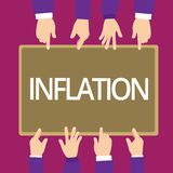 Handwriting text writing Inflation. Concept meaning general increase prices and fall purchasing value of money stock illustration