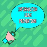 Handwriting text writing Information Leak Prevention. Concept meaning Inhibiting critical information to outflow Blank. Oval Outlined Speech Bubble Text Balloon royalty free illustration