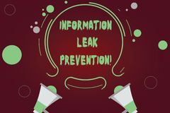 Handwriting text writing Information Leak Prevention. Concept meaning Inhibiting critical information to outflow Two. Megaphone and Circular Outline with Small stock illustration