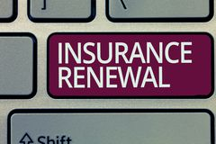 Handwriting text writing Insurance Renewal. Concept meaning Protection from financial loss Continue the agreement.  royalty free stock photography