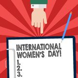 Handwriting text writing International Women S Day. Concept meaning International celebration for womens achievement Hu analysis. Hand Pointing Down to stock illustration