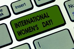 Handwriting text writing International Women S Day. Concept meaning International celebration for womens achievement Keyboard key. Intention to create computer stock illustration