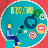 Handwriting text writing Introduction. Concept meaning First part of a document Formal presentation to an audience. Handwriting text writing Introduction royalty free illustration