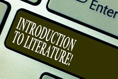 Handwriting text writing Introduction To Literature. Concept meaning Collegepreparatory composition course Keyboard key. Intention to create computer message stock images