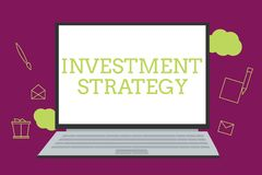 Handwriting text writing Investment Strategy. Concept meaning Set of Rules Procedures Behavior a Guide to an Investor.  stock illustration