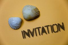 Handwriting text writing Invitation. Concept meaning Written or verbal request someone to go somewhere or do something Grunge idea. S messages shells light brown royalty free stock image