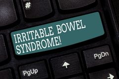 Handwriting text writing Irritable Bowel Syndrome. Concept meaning Disorder involving abdominal pain and diarrhea. Keyboard key Intention to create computer stock image