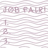 Handwriting text writing Job Fair. Concept meaning event in which employers recruiters give information to employees. Handwriting text writing Job Fair stock illustration