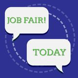 Handwriting text writing Job Fair. Concept meaning event in which employers recruiters give information to employees Two. Handwriting text writing Job Fair vector illustration