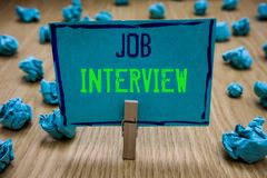 Handwriting text writing Job Interview. Concept meaning Assessment Questions Answers Hiring Employment Panel Clothespin royalty free stock photo