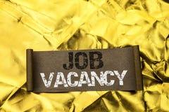 Handwriting text writing Job Vacancy. Concept meaning Work Career Vacant Position Hiring Employment Recruit Job written on Cardboa. Handwriting text writing Job stock photos