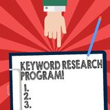 Handwriting text writing Keyword Research Program. Concept meaning Fundamental practice in search engine optimization Hu. Analysis Hand Pointing Down to stock illustration