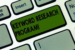 Handwriting text writing Keyword Research Program. Concept meaning Fundamental practice in search engine optimization. Keyboard key Intention to create computer vector illustration