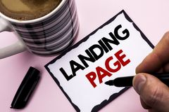 Handwriting text writing Landing Page. Concept meaning Website accessed by clicking a link on another web page written by Man on S. Handwriting text writing Royalty Free Stock Image