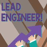 Handwriting text writing Lead Engineer. Concept meaning control his team and analysisage phases of the project in hand. Handwriting text writing Lead Engineer vector illustration
