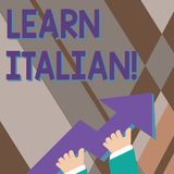Handwriting text writing Learn Italian. Concept meaning gain or acquire knowledge of speaking and writing Italian photo. Handwriting text writing Learn Italian stock illustration