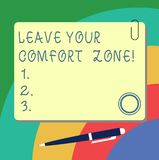 Handwriting text writing Leave Your Comfort Zone. Concept meaning Make changes evolve grow take new opportunities Blank. Square Color Board with Magnet Click stock illustration