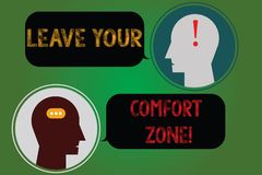 Handwriting text writing Leave Your Comfort Zone. Concept meaning Make changes evolve grow take new opportunities. Messenger Room with Chat Heads Speech Bubbles stock illustration