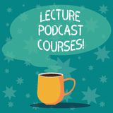 Handwriting text writing Lecture Podcast Courses. Concept meaning the online distribution of recorded lecture material. Mug photo Cup of Hot Coffee with Blank vector illustration