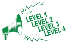 Handwriting text writing Level 1 Level 2 Level 3 Level 4. Concept meaning Steps levels of a process work flow Green megaphone loud. Speaker important message stock illustration