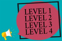 Handwriting text writing Level 1 Level 2 Level 3 Level 4. Concept meaning Steps levels of a process work flow Megaphone loudspeake. R screaming turquoise stock illustration