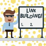 Handwriting text writing Link Building. Concept meaning process of acquiring hyperlinks from other website to your own. Handwriting text writing Link Building stock illustration
