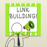 Handwriting text writing Link Building. Concept meaning process of acquiring hyperlinks from other website to your own. Handwriting text writing Link Building royalty free illustration