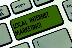 Handwriting text writing Local Internet Marketing. Concept meaning Reach the customers that are closest to you Keyboard key. Intention to create computer stock photo