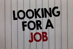 Handwriting text writing Looking For A Job. Concept meaning Unemployed seeking work Recruitment Human Resources white. Vertical paper written three words with stock image