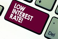 Handwriting text writing Low Interest Rate. Concept meaning percentage that bank add every year on loan Investment. Keyboard key Intention to create computer stock images