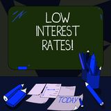 Handwriting text writing Low Interest Rates. Concept meaning meant to stimulate economic growth making it cheaper Mounted Blank. Color Blackboard with Chalk and royalty free illustration
