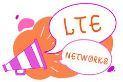 Handwriting text writing Lte Networks. Concept meaning Fastest network connection available for wireless communication Megaphone l. Oudspeaker speech bubbles royalty free illustration
