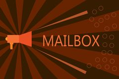 Handwriting text writing Mailbox. Concept meaning Box mounted on post where mail is delivered Computer file for email.  vector illustration