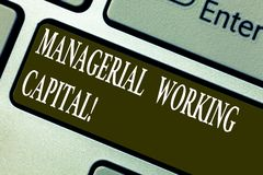 Handwriting text writing Managerial Working Capital. Concept meaning Shortterm liabilities and shortterm assets Keyboard. Key Intention to create computer royalty free stock photography