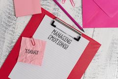 Handwriting text writing Managing Emotions. Concept meaning ability be open to feelings and modulate them in oneself. Handwriting text writing Managing Emotions royalty free stock images