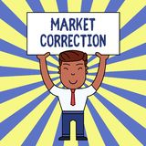 Handwriting text writing Market Correction. Concept meaning When prices fall 10 percent from the 52 week high Smiling. Handwriting text writing Market Correction stock illustration