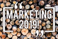 Handwriting text writing Marketing 2019. Concept meaning New Year Market Strategies Fresh start Advertising Ideas Wooden. Background vintage wood wild message stock image