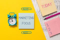 Handwriting text writing Marketing Focus. Concept meaning understanding your customers and thier needs using stats. Handwriting text writing Marketing Focus royalty free stock photo