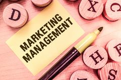 Handwriting text writing Marketing Management. Concept meaning Develop Advertise Promote a new Product or Service.  stock photography