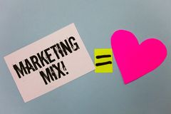 Handwriting text writing Marketing Mix Motivational Call. Concept meaning Actions to promote brand product in market Equal symbol. Sticky notes heart love plane stock photos
