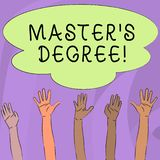 Handwriting text writing Master S Degree. Concept meaning academic degree awarded by universities upon high school. Handwriting text writing Master S Degree stock illustration