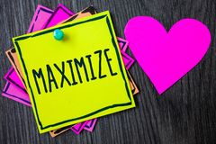 Handwriting text writing Maximize. Concept meaning Increase to the greatest possible amount or degree Make larger Border sticky re. Member cards love heart stock photography