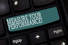 Handwriting text writing Measure Your Perforanalysisce. Concept meaning regular measurement of outcomes and results Keyboard key. Intention to create computer royalty free stock photo
