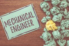 Handwriting text writing Mechanical Engineer. Concept meaning Applied Engineering Discipline for Mechanical System.  royalty free stock photography