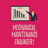 Handwriting text writing Mechanical Maintenance Engineer. Concept meaning Responsible for machines efficiency Man in. Business Suit Standing Pointing a Board vector illustration