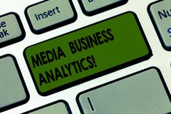 Handwriting text writing Media Business Analytics. Concept meaning Collecting and evaluating data from social media Keyboard key. Intention to create computer stock photo