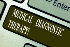 Handwriting text writing Medical Diagnostic Therapy. Concept meaning Determining demonstrating is disease base o. N symptoms Keyboard key Intention to create stock image